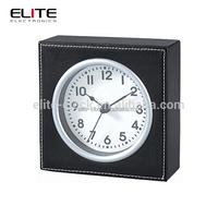 time squared black analog plastic quartz travel table alarm clock