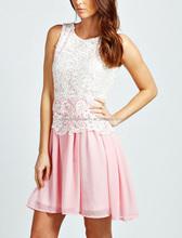 CHEFON Women fashion formal elegant lace blouse and skirt 2014