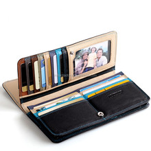 2015 New Birthday Gift Fashion Famous Mens Long Wallet Business Men hand bag Mobile Purse with Coin Bag