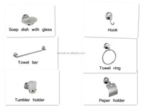 modern stainless steel 6 pieces chrome plated wall mounted SS bathroom accessory sets