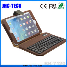 Wholesale Brown OEM Business Model PU Leather Wireless Bluetooth Slim Keyboard for ipad Mini with Magnet Stand