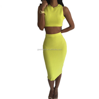 new design for europe design one pace skirt high quality 5-color fabric cotton two-piece dress sexy package hip new nightclub