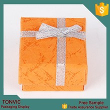 Small paper ring rolls jewelry set packaging box with white form orange color made in china