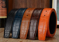 2015 Fashion Colorful Crocodile Pattern Men Leather Belt Strap with brand