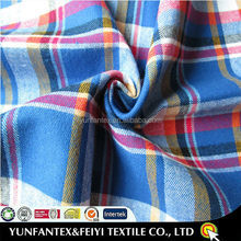 2015 latest design original yarn dyed check designs 100% cotton twill brushed flannel fabric
