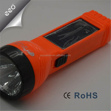 Factory direct export rechargeable LED torch with side solar rechargeable