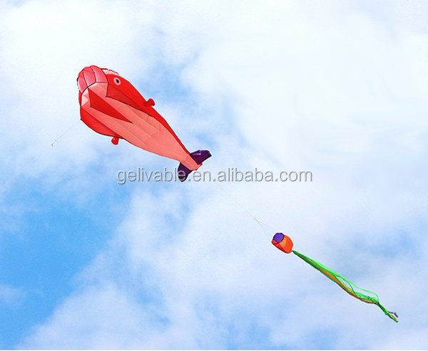 Single line easy flying no frame dolphin soft kite shipping free (2).jpg