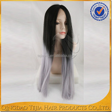 China wholesale middle part synthetic heat resistant lace front wig gray