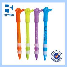 finger shape name printed promotional plastic pen