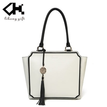 China wholesale high quality fashion pure white women leather handbag