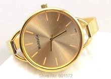 2014 fashion design womage brand new style watches women,with gold grid steel band,only for Gold color