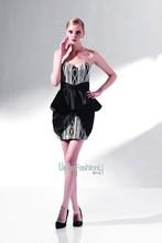 2014 negro sexy corsé corto vestido de fiesta