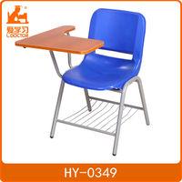 Lightweight university school chair with writing pad