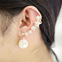 New Fashion Pearl Cuff Earring Jewelry High Qality Crystal Five Star Earrings