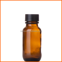 Round amber 50ml essential oil bottle glass