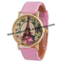 JD-440 smooth leather watch with flowers and Tower pattern all you need and love leather watch