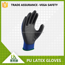 best quality the lowest price safety working gloves, china factory manufacture latex coated with PU knitted gloves
