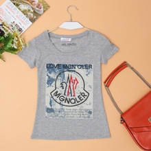 Short-sleeved t-shirt female summer short-sleeve compassionate diamond Slim large size women was thin printed T