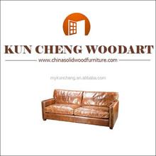 Leather sofa large leather 2 seat real leather sofa/orange leather sofa