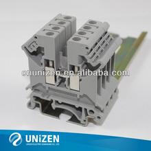 UK3N dinrail mount screw terminal blocks, phoenix 2.5mm2 terminal strip gray, UL 800A 32A 24-12AWG