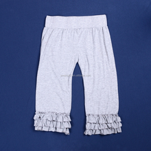 2015 Fall Hot Sale Women Cropped Cotton Trousers With Ruffle QL-38