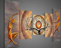Free shipping wall art Orange trees dancing home decoration abstract Landscape hand oil painting art picture on canvas 5pcs/set