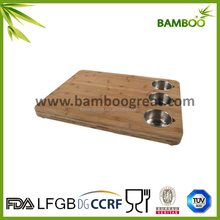 Bamboo cutting board in dishwasher With Three Stainless steel bowl