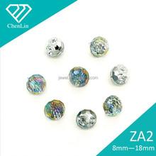 ZA2 round AB black faceted sew on acrylic rhonestones beads shoe garment decorative DIY craft fittings