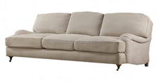french style three seats classic sofa with four birch legs and linen cloth cover