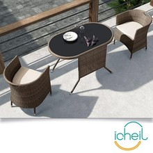 Save space style plastic outdoor table and chair set/ rattan garden furniture