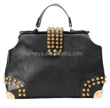 Hot new Black Gold Studded Doctor Style Top Handle Office Tote Bowler Handbag Satchel Purse Shoulder Bag