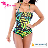 2015 New fashion Green Shades Print Monokini Swimsuit 2015