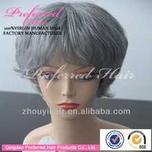 Short straight silver grey human hair lace wigs for old women with bangs