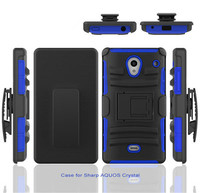 Factory Price ! PC+Silicone Robot Combo Kickstand Hybrid Case for Sharp Aquos Crystal 306SH