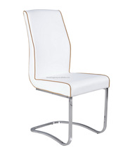 HJ-827 chromed cheap pu leather dining chair