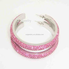 SE480410032 Cute Pink Stainless Steel Fashion Large Crystal Earrings for Women Party Cool Jewelry