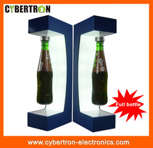 Customized acrylic magnetic floating bottle display / LED acrylic magnet levitation rotating bottle display stand