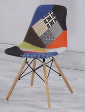 Hot sale Colorful Fabric Plastic dining Chair with wood leg