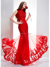 Elegant Chinese style O-Neck Appliqued Red bride wedding dress FXL-258