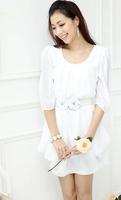новый, две цветные женские Корея модные шифоновые партии клуб Бохо случайные круглый вырез мини-платье