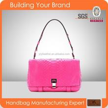 S143 Fuchsia Office Lady Handbags Real Python Leather Shoulder Bag