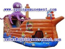 pvc 0.55mm hot octopus slide type inflatable wet/dry double slides without pool SP-SL0126