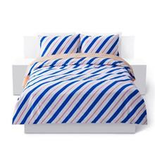 luxury korean polyester bedding set 4pcs blue Stripe American style