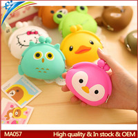 Supermarket promotion gift animal shape coin purse cat duck bird head design funny key pouch for kids