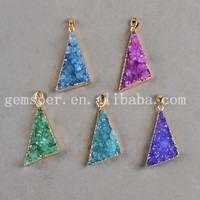 Druzy wholesale gold plating natural agate druzy pendant new products boho jewelry