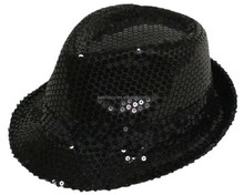 Fashion factory direct selling black glitter round top BHAT-1695