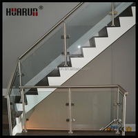 Foshan morden railing design stainless steel fences posts handrails for glass porch