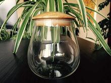 Vasilha de vidro / jar / com tampa de madeira