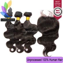 Wholesale 4*4 Body Wave Top Lace Closure 6a Virgin Brazilian Hair Bundles With Lace Closure