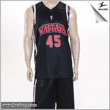 Black Sublimation Reversible Basketball Jersey with Logo